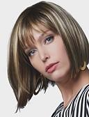 billige Tights-Syntetiske parykker Dame Rett Bobfrisyre Syntetisk hår 8 tommers syntetisk Mørkbrun Gull Blond Ombre Parykk Kort Lokkløs Beige