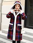 cheap Women's Coats & Trench Coats-Women's Going out Long Coat, Color Block Hooded Long Sleeve Polyester Blue / Red XL / XXL / XXXL / Slim