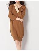 baratos Vestidos para Trabalhar-saia de mulheres / vestido bainha midi v pescoço