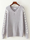 billige damesweaters-Dame Daglig Basale Ensfarvet / Stribet Langærmet Normal Cardigan, V-hals Sort / Grå S / M