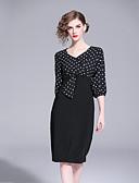 cheap Women's Dresses-Women's Daily Basic Sheath Dress - Color Block Patchwork V Neck Fall Black L XL XXL