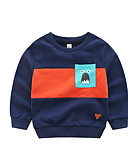 billige Hettegensere og gensere til gutter-Barn Gutt Grunnleggende Fargeblokk Langermet Bomull Hettegenser og sweatshirt Navyblå