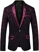 cheap Men's Blazers & Suits-Men's Daily Business Fall Regular Blazer, Solid Colored / Geometric Shirt Collar Long Sleeve Polyester Black / Navy Blue / Wine XL / XXL / XXXL / Business Casual / Slim