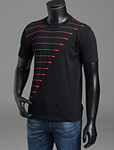 cheap Men's Tees & Tank Tops-Men's Basic T-shirt - Striped Print Round Neck / Short Sleeve