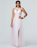 cheap Prom Dresses-A-Line Jewel Neck Floor Length Lace / Tulle Bridesmaid Dress with Lace by LAN TING BRIDE®