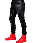 رخيصةأون بنطلونات و شورتات رجالي-رجالي أساسي قطن جينزات بنطلون - لون سادة أسود / الربيع / الخريف
