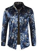 cheap Men's Shirts-Men's Basic Cotton Shirt - Geometric / Color Block Print Blue XL / Long Sleeve