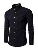 baratos Camisas Masculinas-camisa de festa masculina - gola em pé de cor sólida