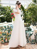 cheap Wedding Dresses-A-Line Jewel Neck Sweep / Brush Train Lace / Tulle Made-To-Measure Wedding Dresses with Appliques by LAN TING Express