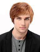 olcso Férfi sálak-Emberi hajszelet nélküli parókák Emberi haj Egyenes Oldalsó rész Rövid Géppel készített Paróka Férfi