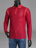 tanie Męskie koszulki polo-Polo Męskie Podstawowy, Siateczka Kołnierzyk koszuli Solidne kolory / Długi rękaw