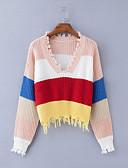 billige damesweaters-Dame Daglig Gade Regnbue Langærmet Løstsiddende Normal Pullover, Dyb V Regnbue En Størrelse