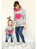זול סטים של בגדים למשפחה-קפוצ'ון וטרנינג שרוול ארוך גיאומטרי בסיסי אמא ואני