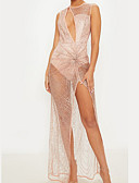 cheap Party Dresses-Women's Sheer Party / Cocktail / New Year Eve / Festival Sexy / Elegant Maxi Slim Dress - Solid Colored Split High Waist Deep V Gold Black M L XL