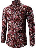 cheap Men's Shirts-Men's Vintage Plus Size Shirt - Geometric Print / Long Sleeve
