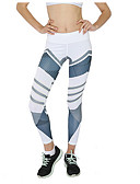 cheap Leggings-Women's Cotton Sexy Sporty Legging - Geometric, Racerback Mid Waist White Black Blushing Pink M L XL / Slim