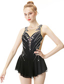 cheap Ice Skating Dresses , Pants & Jackets-Figure Skating Dress Women's / Girls' Ice Skating Dress Black Swan Spandex, Stretch Yarn High Elasticity Professional / Competition Skating Wear Handmade Fashion Sleeveless Ice Skating / Winter