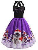 cheap Vintage Dresses-Women's Holiday / Going out Vintage / Elegant Swing Dress - Animal Halter Neck Spring Cotton Green Purple Fuchsia L XL XXL