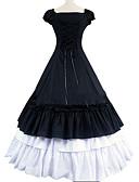 billige Romantiske blonder-Gotisk Victoriansk Kostymer i middelalderstil Kostume Dame Kjoler Party-kostyme Maskerade Svart Vintage Cosplay Bomull Kortermet Kappeerme Gulvlang Store størrelser Tilpasset