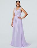 Χαμηλού Κόστους Φορέματα Παρανύμφων-Γραμμή Α Λαιμόκοψη V Ουρά Σιφόν / Δαντέλα Φόρεμα Παρανύμφων με Δαντέλα / Ζώνη / Κορδέλα με LAN TING BRIDE® / Φανταχτερό / Ανοικτή Πλάτη