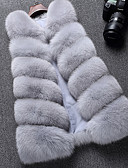 cheap Women's Fur & Faux Fur Coats-Women's Daily Street chic Regular Vest, Solid Colored V Neck Sleeveless Faux Fur Black / Dark Gray / Light gray One-Size