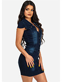 baratos Blusas Femininas-Mulheres Moda de Rua Ganga Calças - Sólido Azul / Mini / Colarinho de Camisa / Delgado