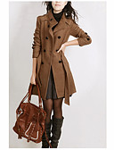 ieftine Paltoane Trench Femei-Pentru femei Zilnic Toamna iarna Regular Haină Trench, Mată Stand Manșon Lung Nailon Negru / Camel XXL / XXXL / 4XL