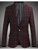 ieftine Blazer & Costume de Bărbați-Bărbați Zilnic Toamnă Regular Blazer, Houndstooth Guler Cămașă Manșon Lung Poliester Gri Închis / Roșu Vin / Gri Deschis 4XL / XXXXXL / XXXXXXL / Zvelt