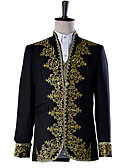 cheap Historical & Vintage Costumes-Prince Cosplay Costume Masquerade Jacket Tuxedo Suits & Blazers Men's Baroque Medieval 18th Century Halloween Carnival Festival / Holiday Outfits Black Plus Size Solid Colored Embroidered / Lace