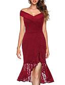 hesapli Mini Elbiseler-Kadın's Tatil Dışarı Çıkma Sokak Şıklığı Zarif Pamuklu Kılıf Trompet / Balık Elbise - Solid, Dantel Düşük Omuz Asimetrik Gül kurusu