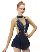 cheap Party Dresses-Figure Skating Dress Women's / Girls' Ice Skating Dress Black Spandex, Stretch Yarn High Elasticity Professional / Competition Skating Wear Handmade Fashion Sleeveless Ice Skating / Winter Sports