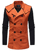 cheap Men's Jackets & Coats-Men's Daily / Going out Street chic / Punk & Gothic Spring / Fall & Winter Long Trench Coat, Color Block Turndown Long Sleeve Rayon / Wool Blend Patchwork Black / Orange L / XL / XXL
