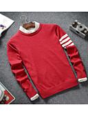 billige T-skjorter og singleter til herrer-Herre Langermet Pullover - Fargeblokk, Stripe Rund hals