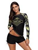 זול ביקיני ובגדי ים-XL XXL XXXL דפוס גיאומטרי, בגדי ים חלק אחד (שלם) רגלו של הילד Bandeau פול שחור כחול ים סטרפלס בסיסי בגדי ריקוד נשים / סקסית