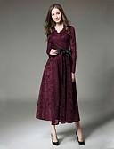 tanie Casualowe sukienki-Damskie Elegancja Spodnie Koronka Wino / W serek
