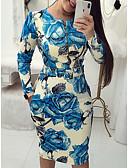 preiswerte Abendkleider-Damen Elegant Schlank Hose - Blumen Blau / Party