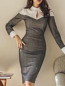 tanie Sukienki-damska, cienka sukienka z kołnierzem do kolan