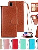 זול מגנים לאייפון-מגן עבור Apple iPhone XS / iPhone XR / iPhone XS Max ארנק / מחזיק כרטיסים / מגנטי כיסוי מלא אחיד קשיח עור PU