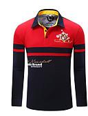 preiswerte Herren Polo Shirts-Herrn Einfarbig Polo, Hemdkragen Rote L / Langarm