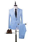 cheap Men's Blazers & Suits-Men's Daily Business Regular Suits, Solid Colored Shirt Collar Long Sleeve Polyester Light Blue / Khaki / Royal Blue XL / XXL / XXXL / Business Formal / Slim