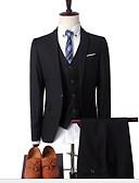 billige Herreblazere og dresser-Herre Daglig / Arbeid Normal drakter, Ensfarget Skjortekrage Langermet Polyester Blå / Svart / Rød XXXL / 4XL / XXXXXL / Bedriftsformell / Tynn