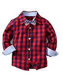Χαμηλού Κόστους Μπλουζάκια για αγόρια-Παιδιά Αγορίστικα Βασικό Μονόχρωμο Μακρυμάνικο Βαμβάκι Πουκάμισο Θαλασσί