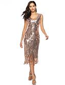 זול שמלות NYE-בגדי ריקוד נשים סגנון רחוב / אלגנטית רזה מכנסיים פאייטים / פרנזים מותניים גבוהים זהב / Party / V עמוק / חגים