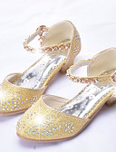 Χαμηλού Κόστους Φορέματα για κορίτσια-Κοριτσίστικα Παπούτσια Φο Δέρμα Άνοιξη & Χειμώνας Λουλουδάτα φορέματα για κορίτσια Τακούνια Τεχνητό διαμάντι / Πούλιες για Παιδιά / Εφηβικό Χρυσό / Ασημί / Ροζ