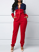 cheap Women's Jumpsuits & Rompers-Women's Daily / Club Basic Red Slim Jumpsuit, Color Block M L XL Cotton Sleeveless Spring Fall