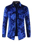 hesapli Erkek Gömlekleri-Erkek Pamuklu Gömlek Desen, Solid / Çiçekli Lüks / Temel Siyah / Uzun Kollu