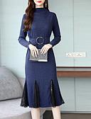 povoljno Ženske haljine-Žene Elegantno Veći konfekcijski brojevi Hlače - Jednobojni Plava / Uski okrugli izrez