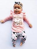 halpa Tyttöjen vaatesetit-Taapero Tyttöjen Aktiivinen / Perus Päivittäin Black & White Geometrinen Painettu Pitkähihainen Normaali Normaali Puuvilla / Polyesteri Vaatesetti Punastuvan vaaleanpunainen