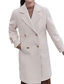 cheap Women's Wool & Wool Blend Coats-Women's Daily Long Coat, Solid Colored Straight Collar Long Sleeve Wool Beige / Light Brown L / XL / XXL / Slim