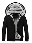 お買い得  メンズフーディー&スウェットシャツ-男性用 ストリートファッション プラスサイズ パンツ - ソリッド ブラック / フード付き / 長袖